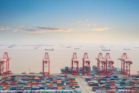 container terminal with sunset glow in shanghai east China sea