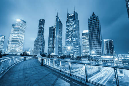 shanghai lujiazui financial center skyline ,night view from the sightseeing footbridge  Stock Photo
