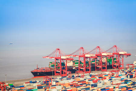 foreign trade: container terminal with foreign trade ,a shipping and port machinery background
