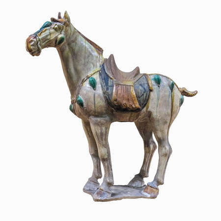 yellow tang: tri-coloured glazed pottery of the Tang Dynasty, horse figurines  Stock Photo