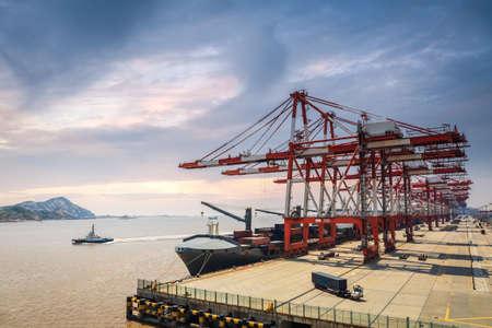 鶴の行上海コンテナー深海港、外国貿易、ポート機械背景