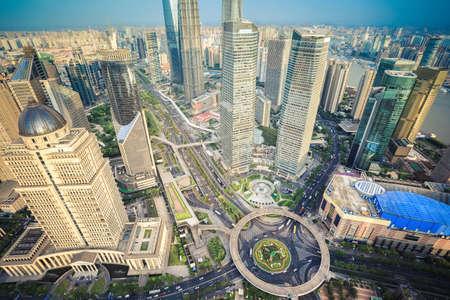 financial world: shanghai midtown aerial view of lujiazui financial center, China