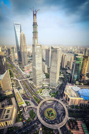 aerial view of modern shanghai lujiazui finance and trade zone  photo