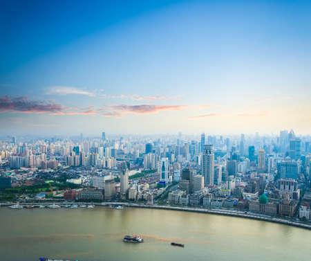 beautiful modern city skyline in sunset aerial view of shanghai the bund and huangpu river