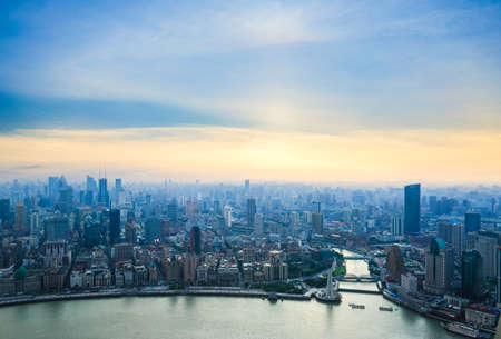 overlooking shanghai and  huangpu river at dusk ,China