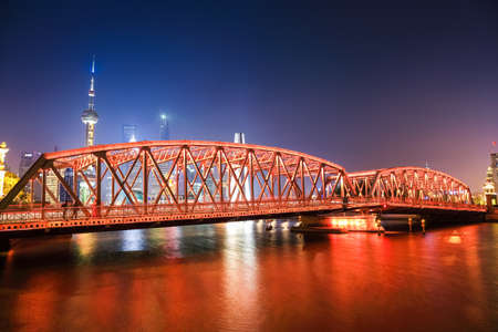shanghai garden bridge at night , landmark historic building , China