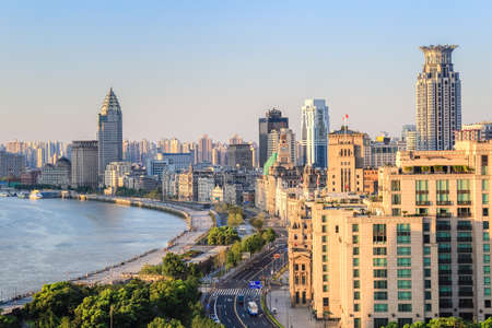 shanghai bund closeup in the morning, modern and history photo