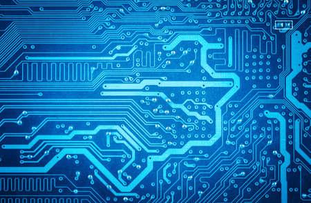computer circuit board closeup,blue technology background Imagens