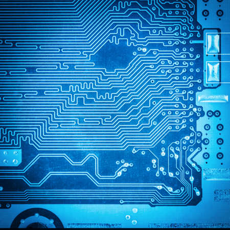 blue circuit board closeup,technology background  photo