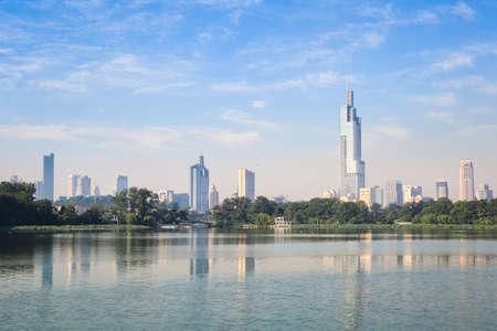 modern nanjing city skyline with the beautiful lake in morning