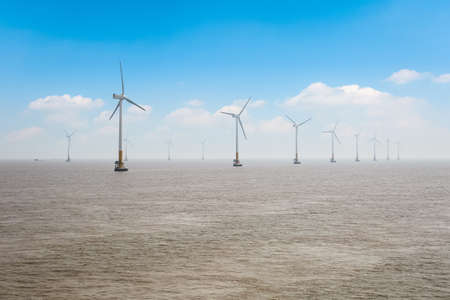 offshore wind farm, clean energy background  photo