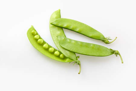 snap bean: fresh snow beans on a white background