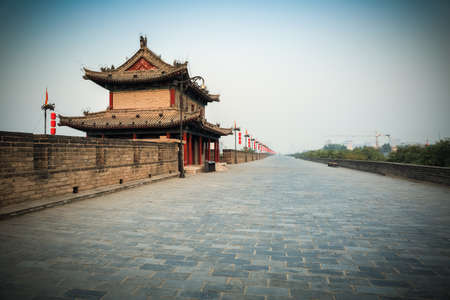 beautiful xian scenery on the ancient city wall, China  photo