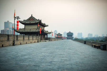 beautiful xian scenery on the ancient city wall at dusk ,China  photo