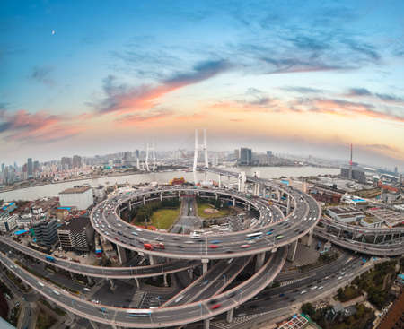junction: aerial view of shanghai nanpu bridge in sunset  ,China  Stock Photo
