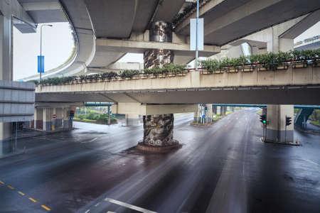 interchange: under the city interchange bridge,long exposure time