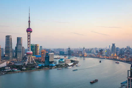 beautiful scenery of the huangpu river in shanghai at dusk ,China