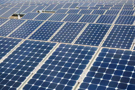 photovoltaic power station: solar panels background closeup ,clean energy concept