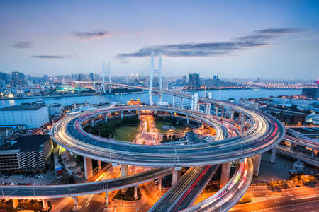 beautiful nanpu bridge at dusk ,crosses huangpu river ,shanghai ,China