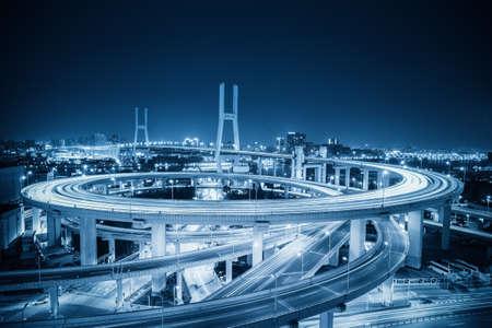 shanghai nanpu bridge at night with blue tone