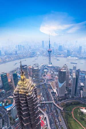 financial world: a birds eye view of shanghai at dusk