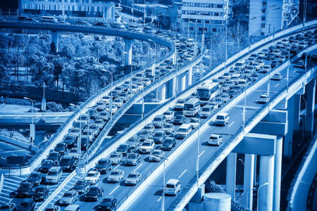 traffic jams closeup on modern city highway junction
