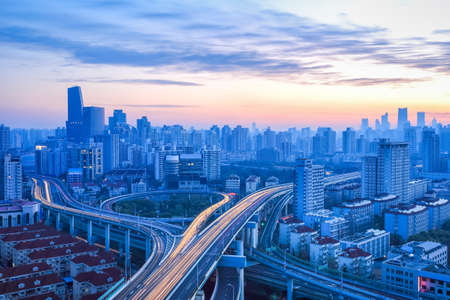 modern city interchange bridge in sunrise at shanghai  photo