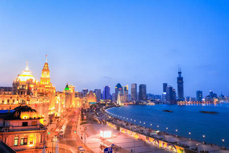 nightfall: shanghai the bund at nightfall, beautiful outstanding historical buildings