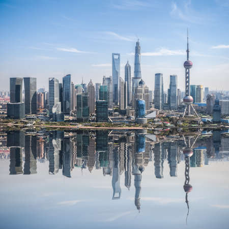 financial world: high angle view of shanghai skyline with reflection ,China