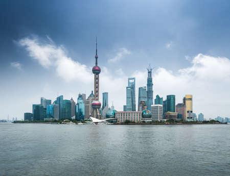 shanghai: shanghai skyline with huangpu river  ,modern city background