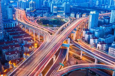 beautiful city interchange closeup at shanghai yanan west road in nightfall