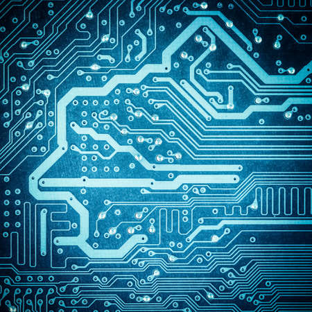electronic background: blue circuit board texture closeup ,tech industrial electronic background
