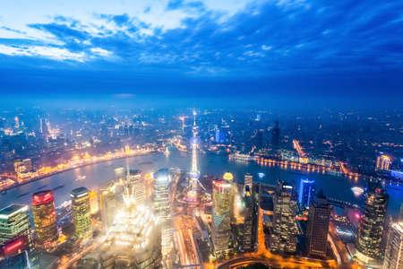 bird eye view: nightfall view of shanghai, aerial view of a magical modern city ,China