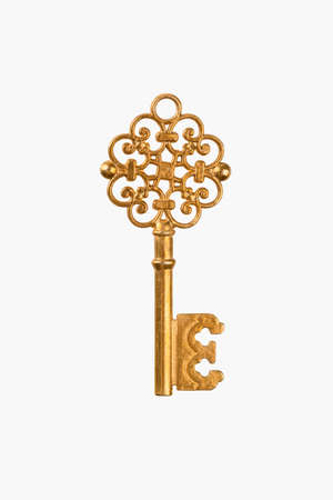 a golden key isolated on white with clipping path Imagens - 30026395
