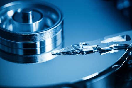 hard drive: hard disk inside closeup Stock Photo