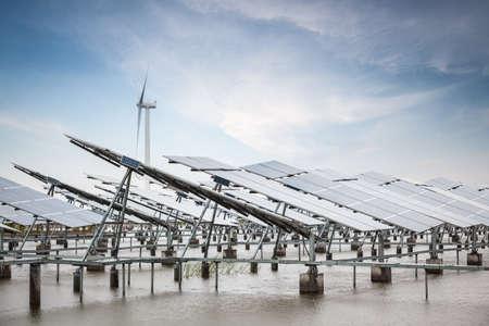 solar and wind power in coastal tidal flats