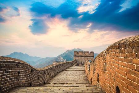 China de grote muur in een prachtige schemering