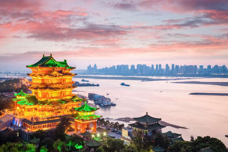nanchang tengwang pavilion with sunset glow ,is one of chinese famous ancient  building