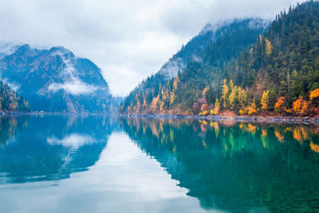 long lake: beautiful long lake in autumn jiuzhaigou valley national park , China