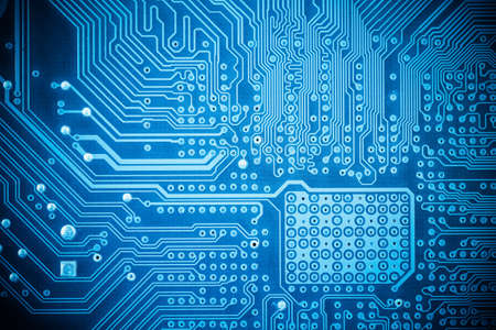 computer circuit board closeup,blue abstract technology background  photo