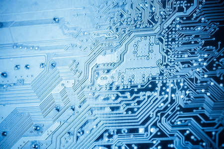 circuit board closeup , abstract concept of science and technology background  photo