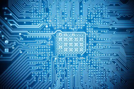 青のコンピューター基板のテクスチャーのクローズ アップ、技術の背景を抽象化