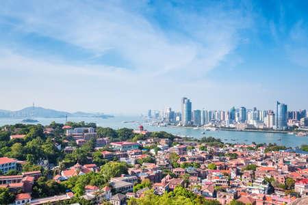 xiamen scenery, birds eye view of gulangyu island  photo