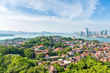 aerial view of xiamen gulangyu island , a beautiful coastal city