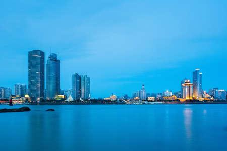 xiamen skyline closeup in nightfall , a beautiful coastal city photo