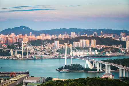 haicang bridge in sunset , high angle view closeup of the beautiful coastal city of xiamen
