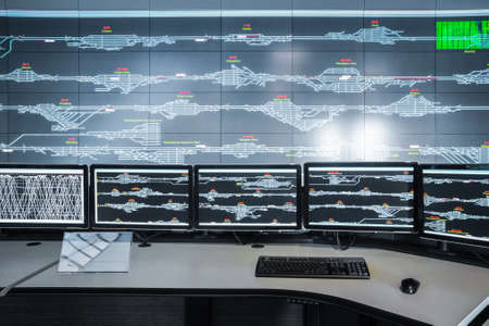 tablero de control: sala de control de cerca, fondo moderno tecnolog�a electr�nica Foto de archivo