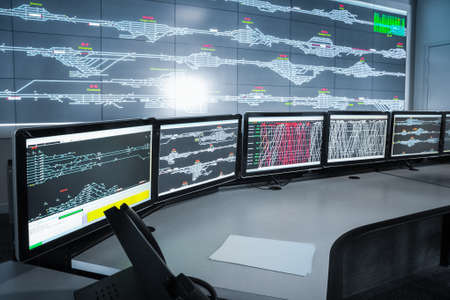 monitor: modern electronic control room , science and technology background