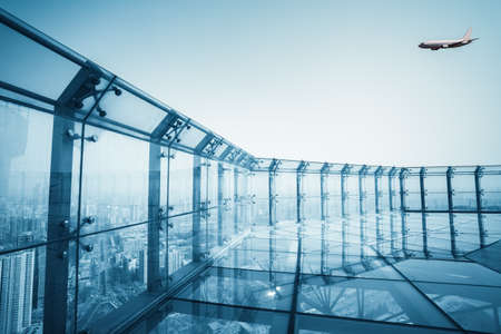 transparent viewing glass platforms, city scenery of the roof