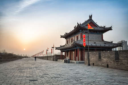 xian city wall and ancient tower at dusk, hdr image